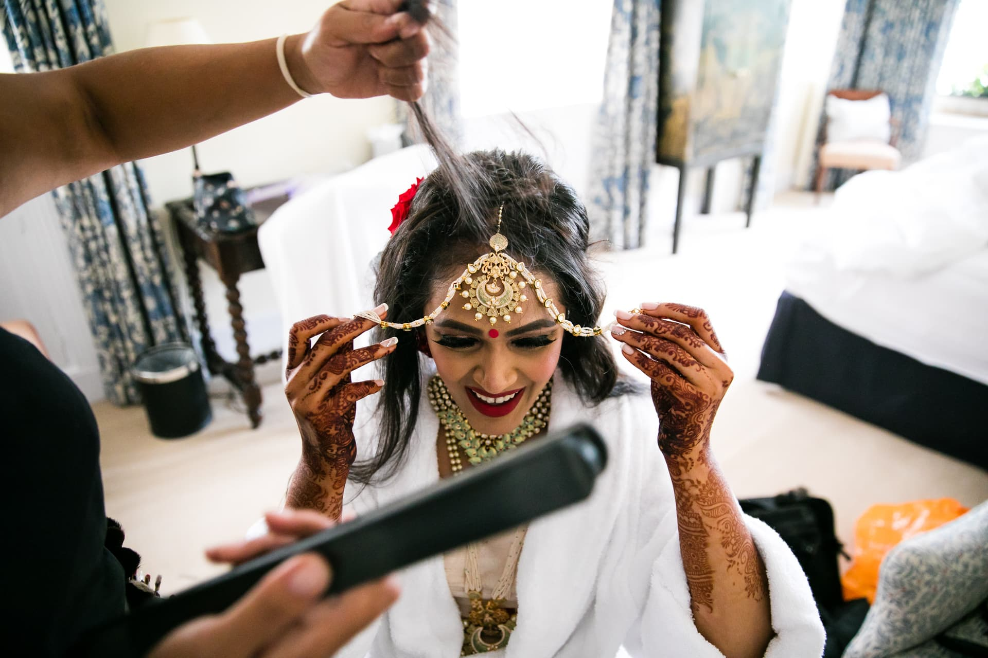 Indian Bride getting ready Roshni Hair and Makeup