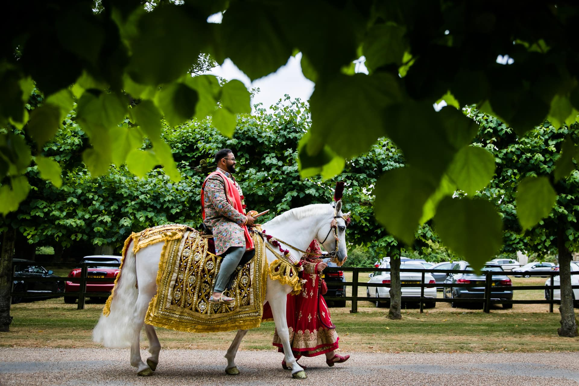 Asian Wedding groom arrival on horse