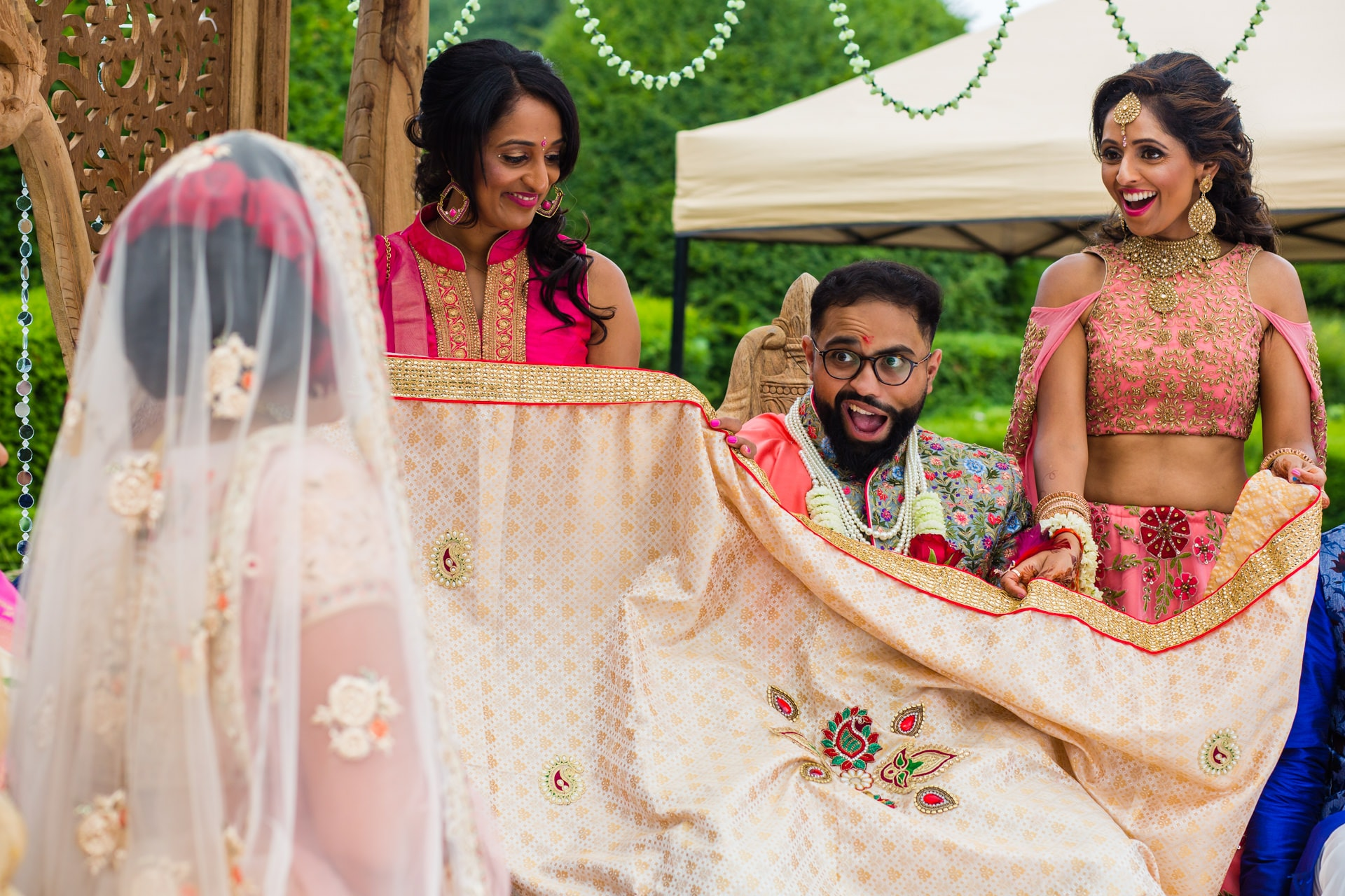 Groom's reaction to seeing bride at wedding