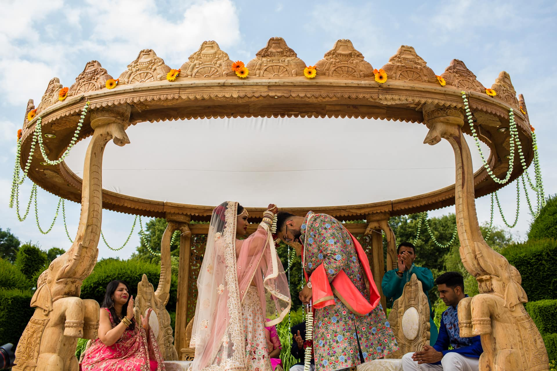 Garlanding ceremony during Gujarati wedding