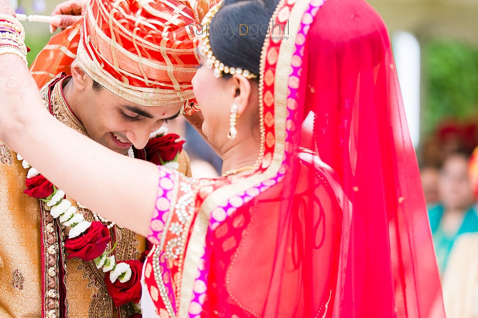 Garlanding during Hindu Wedding ceremony