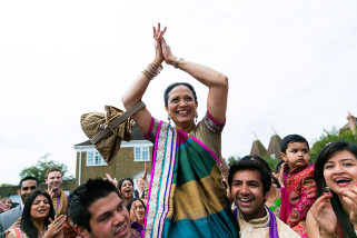 Mother of the groom being lifted