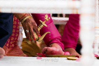 Closeup during Hindu Wedding Ceremony