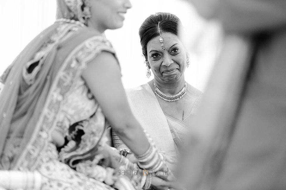 Bride's mother smiling