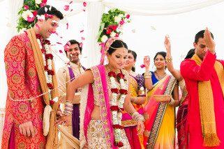Bride leading groom during Hindu Wedding ceremony