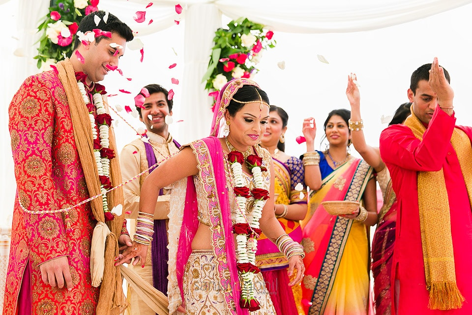 Bride leading groom during Hindu Wedding ceremony