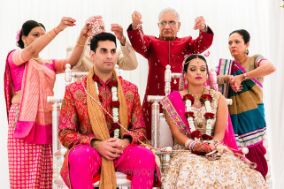 Hindu Wedding bride and groom being blessed by their parents