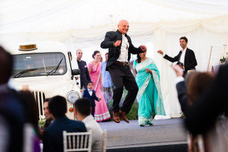 Father of the bride jumping