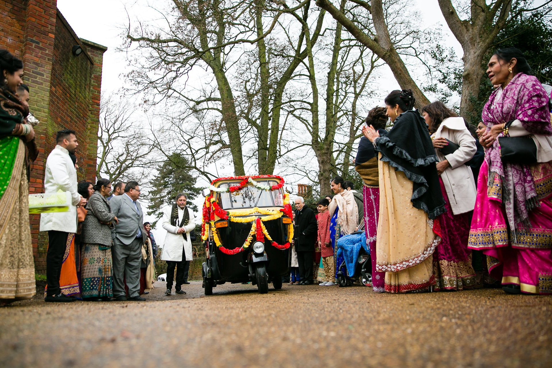 Asian wedding, groom's arrival