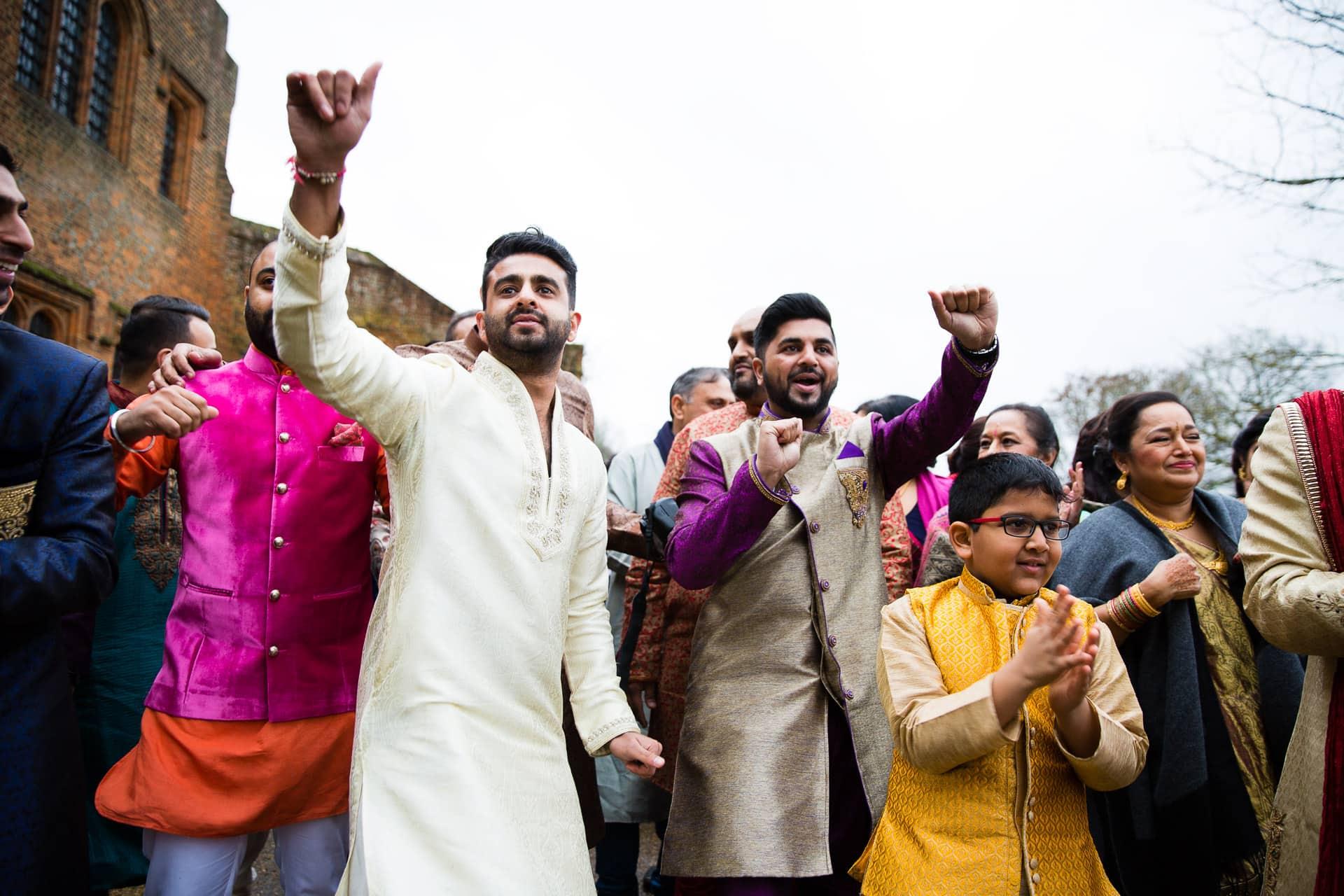 Asian wedding, groom's arrival