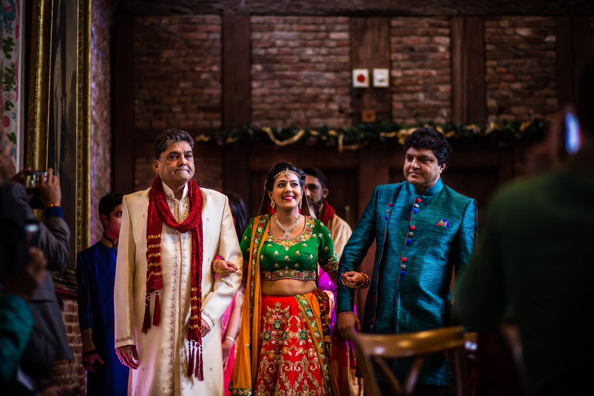 Bridal entrance during Hindu wedding