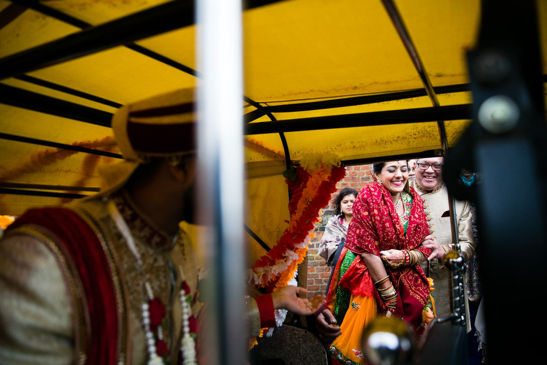 Bride leaving Hindu Wedding