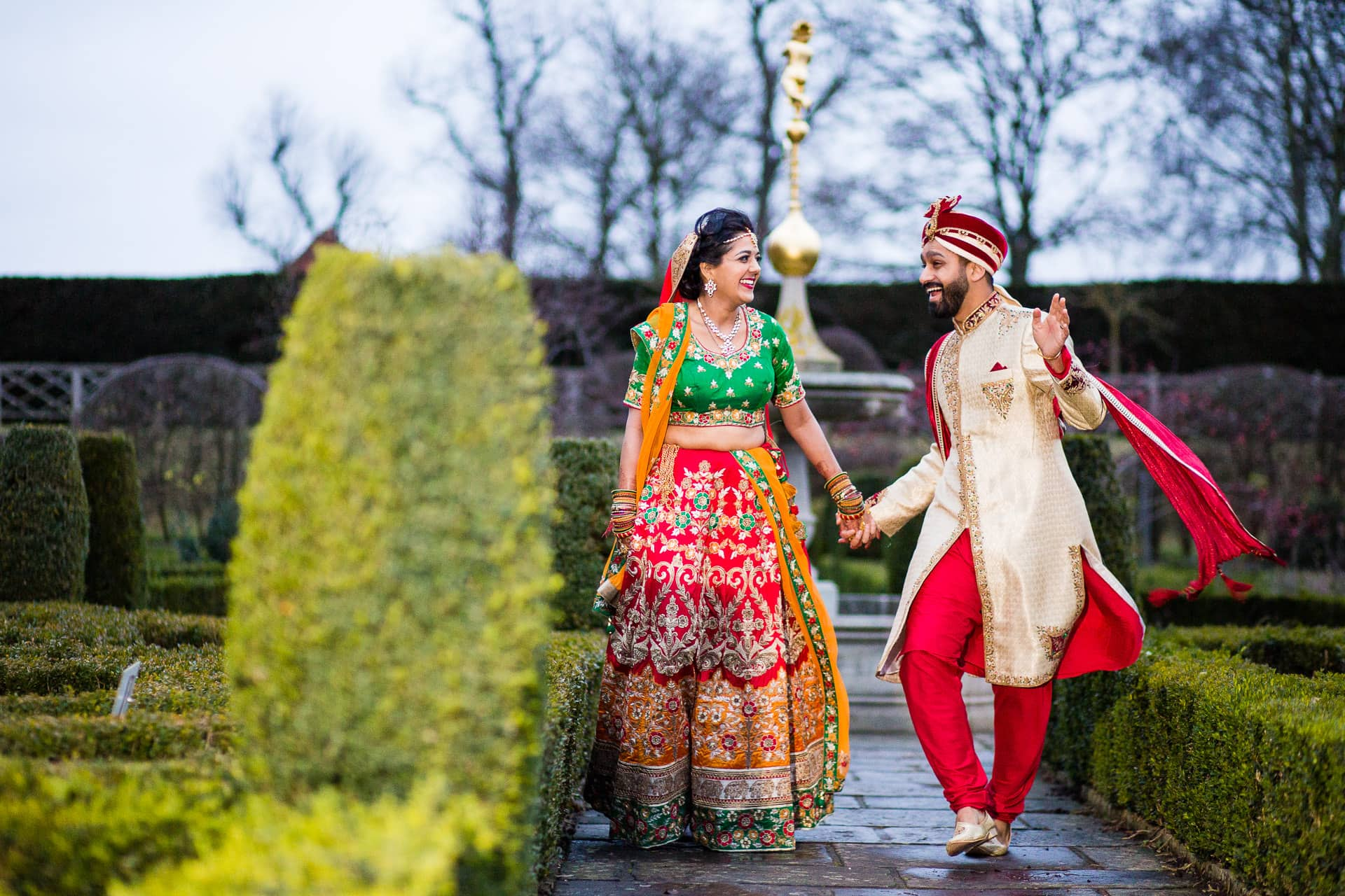 Asian couple portrait at Hatfield house