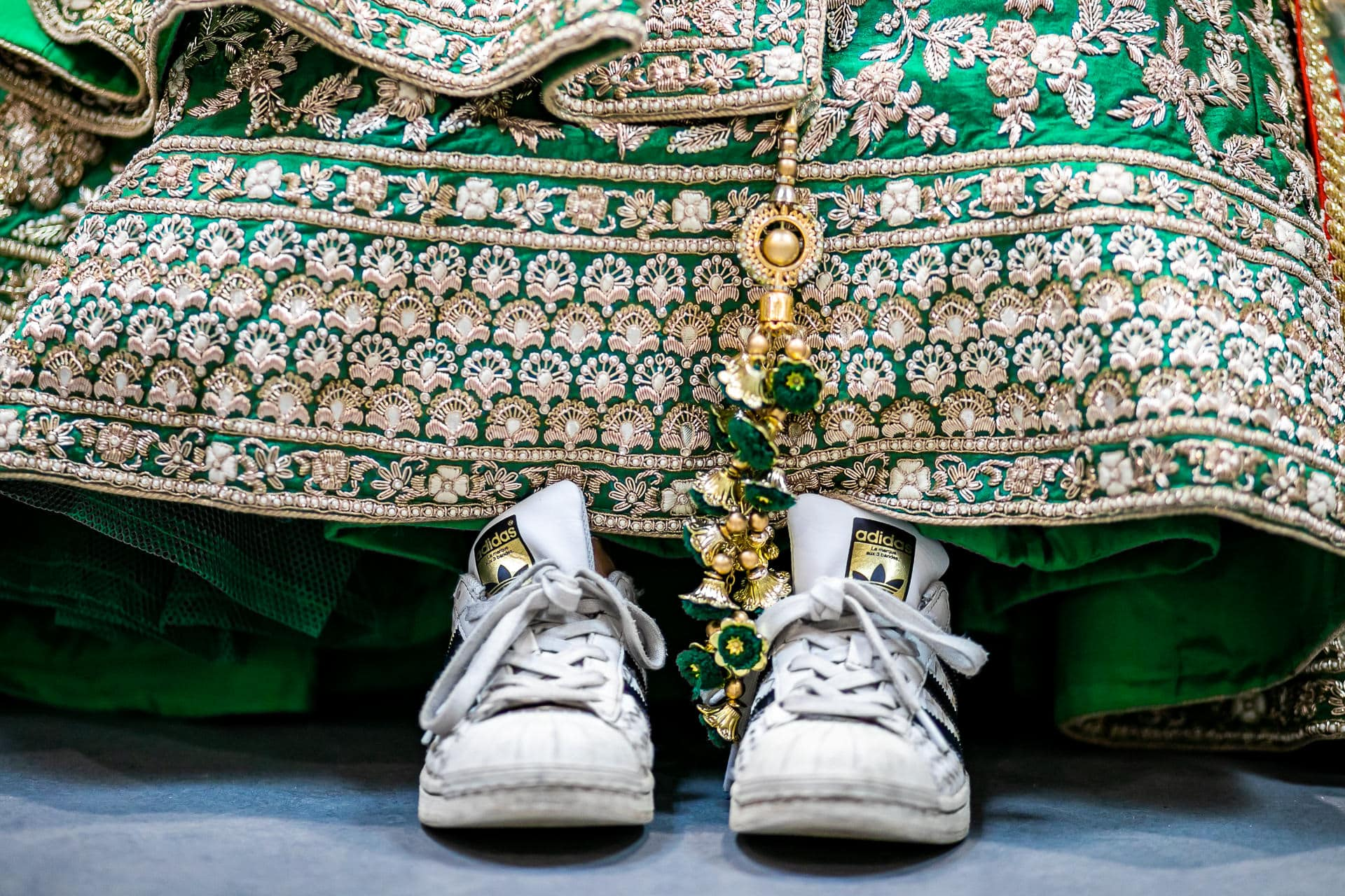 Bridal wedding outfit and Adidas trainers