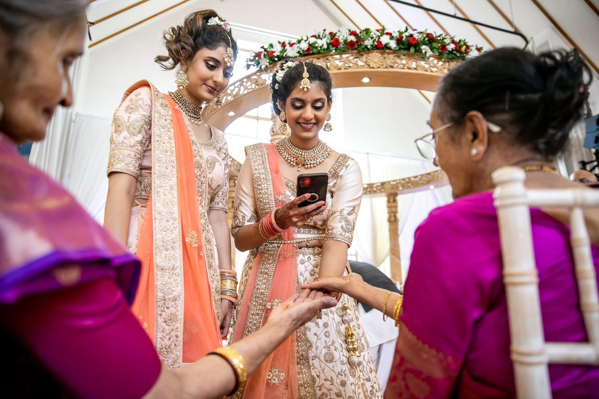 Hindu wedding guests at The Haveli, Bhaktivedata Manir