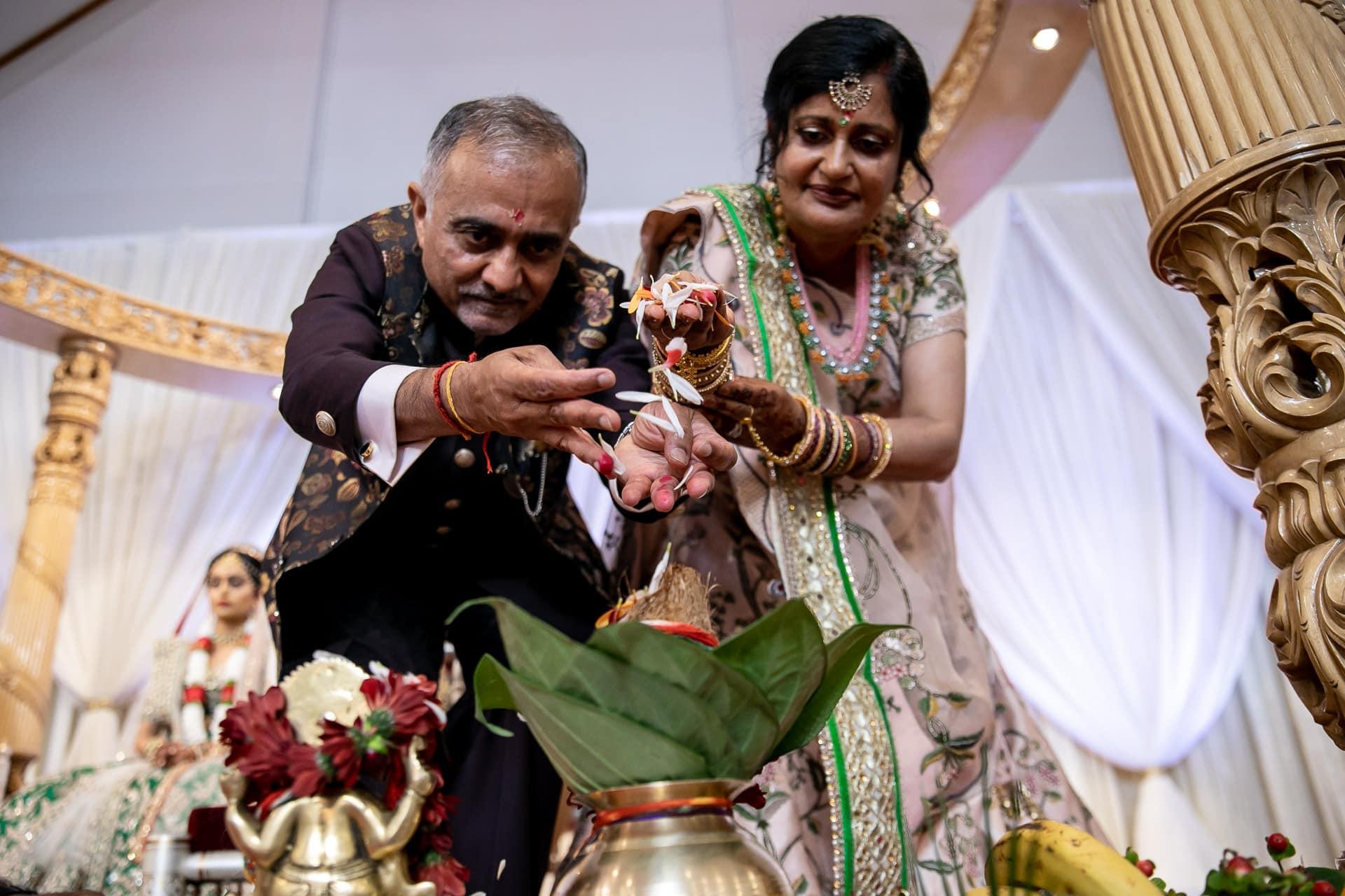 Ganesh Pooja during Hindu wedding ceremony at The Haveli
