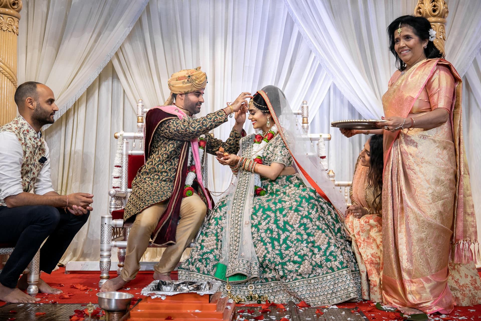 Sindoor ceremony during Asian wedding