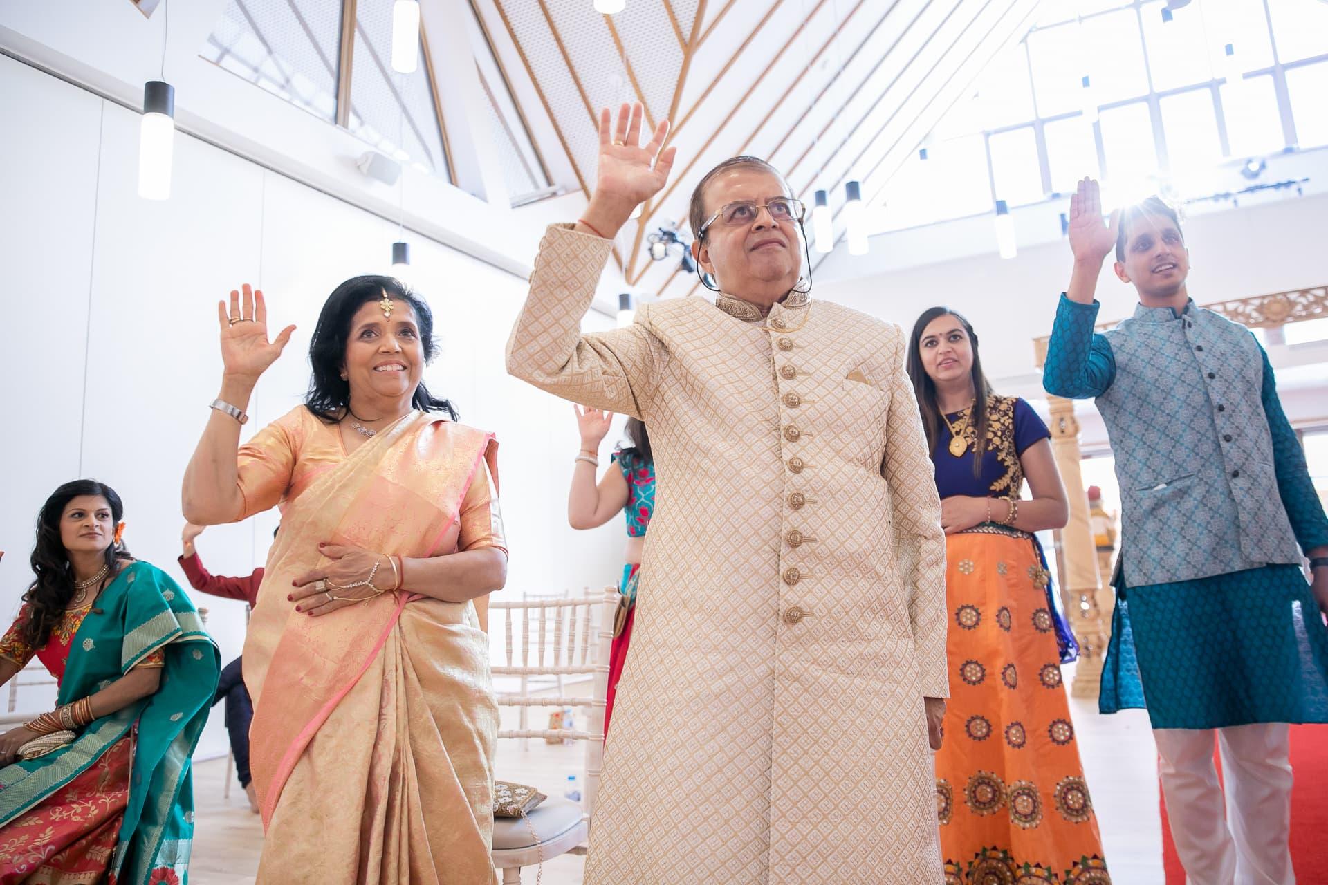 Family members celebrating the wedding