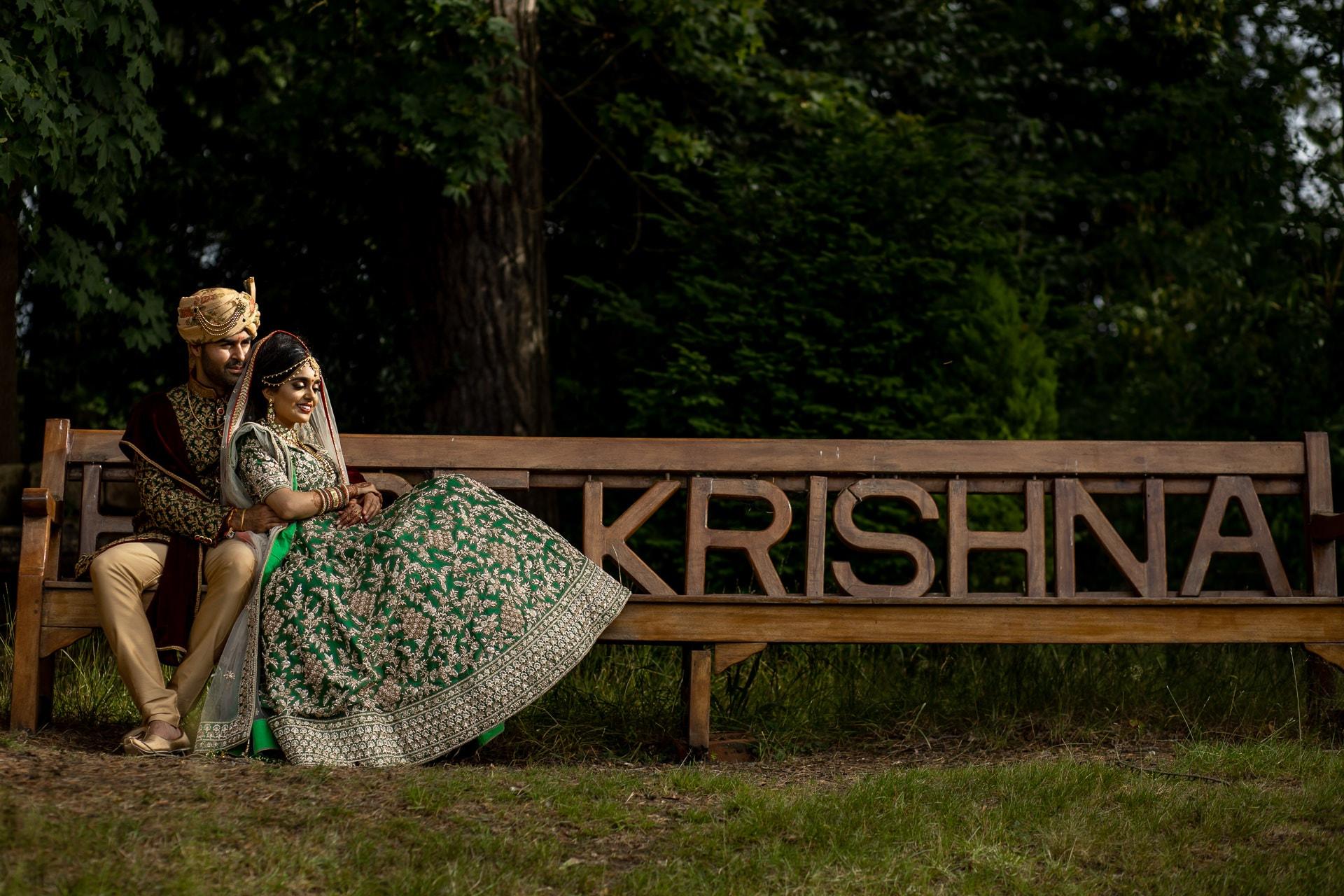 Asian bride and groom portrait at Hare Krishna Mandir, watford