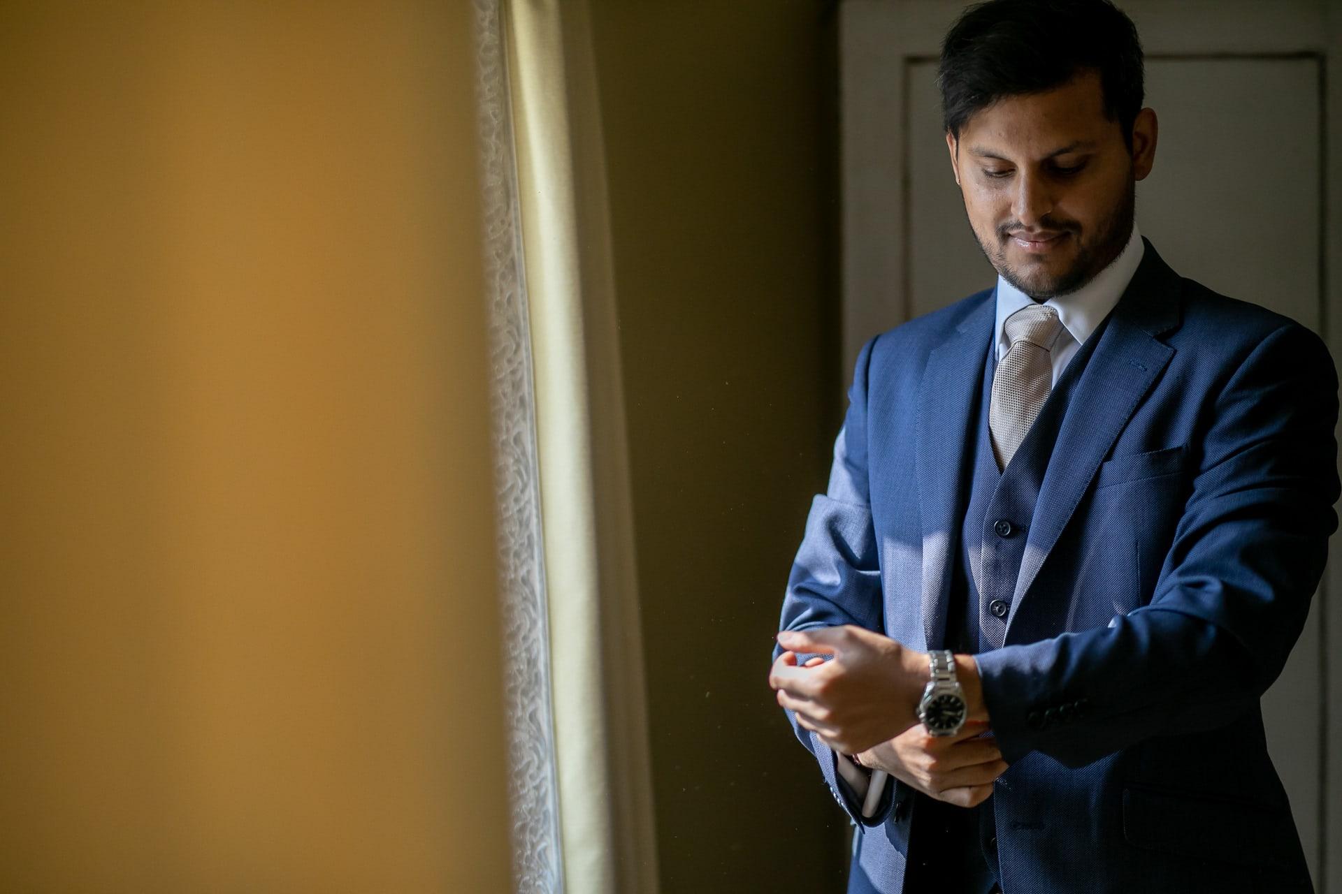 Groom getting ready for Civil wedding