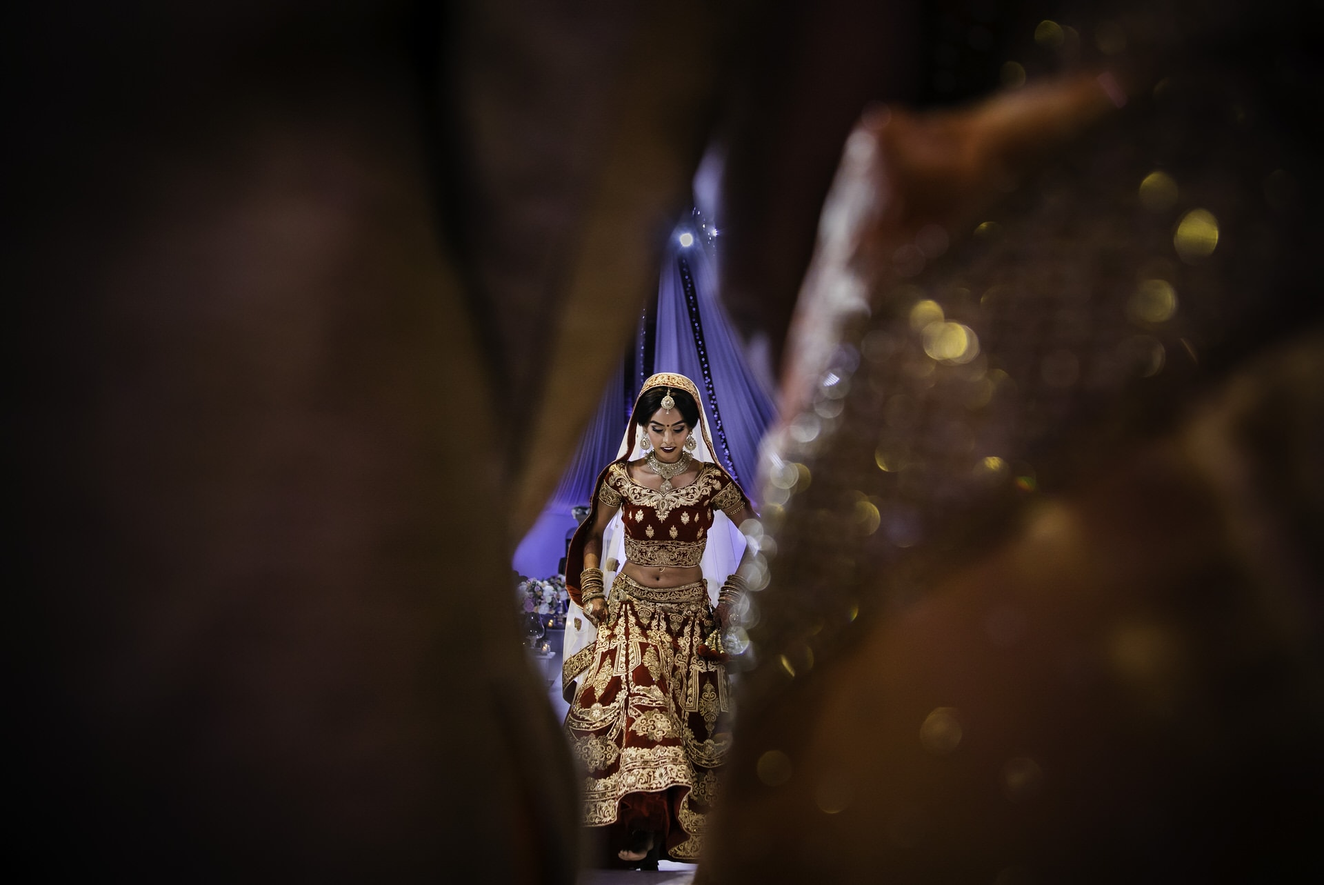 Indian Bride stepping into the mandap