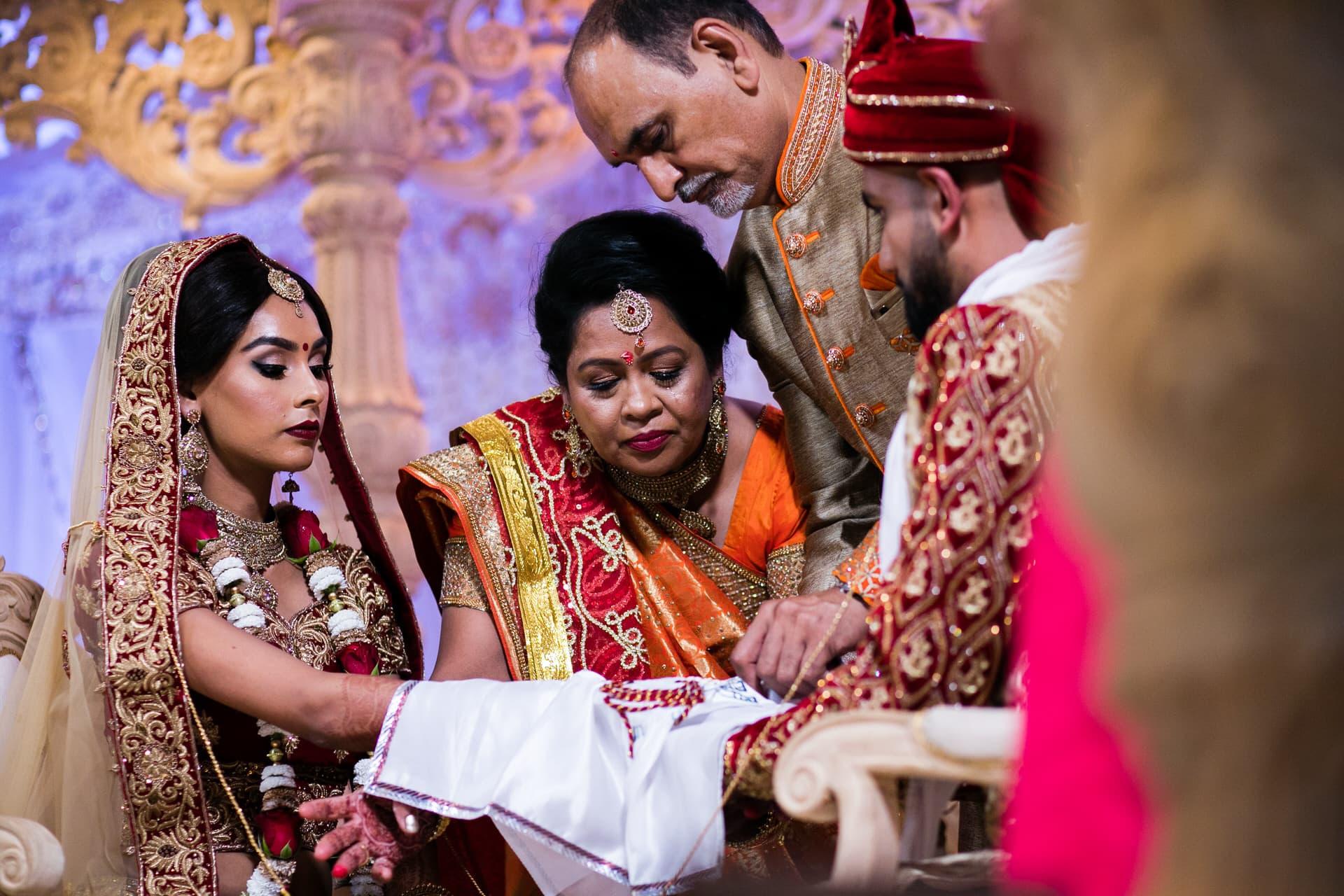 Parents giving Bride away