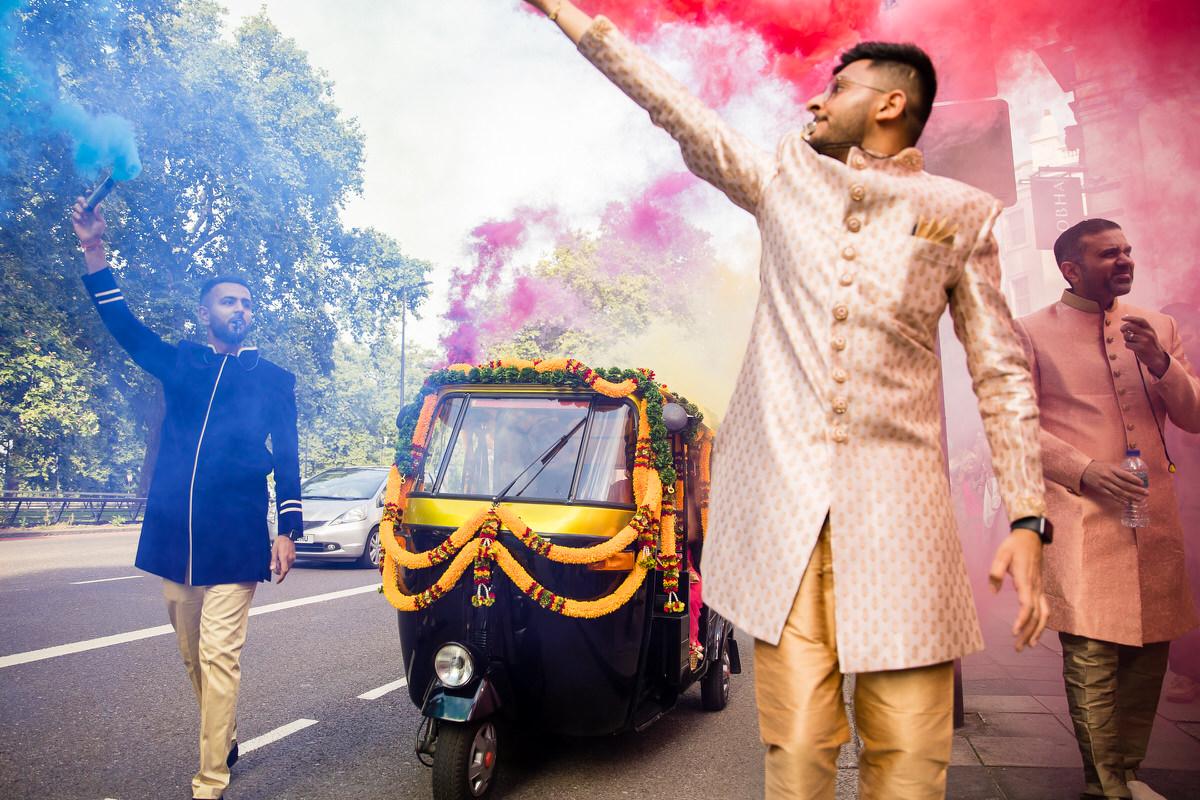 Asian wedding groom arriving in Park Lane