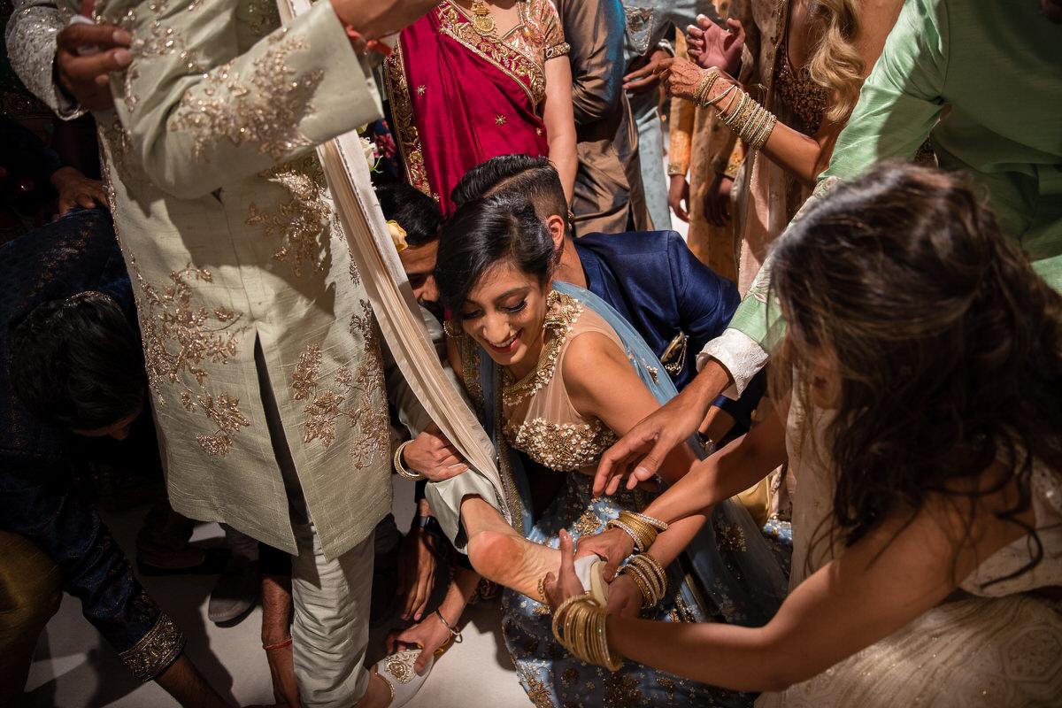 Hindu wedding groom shoes being stolen