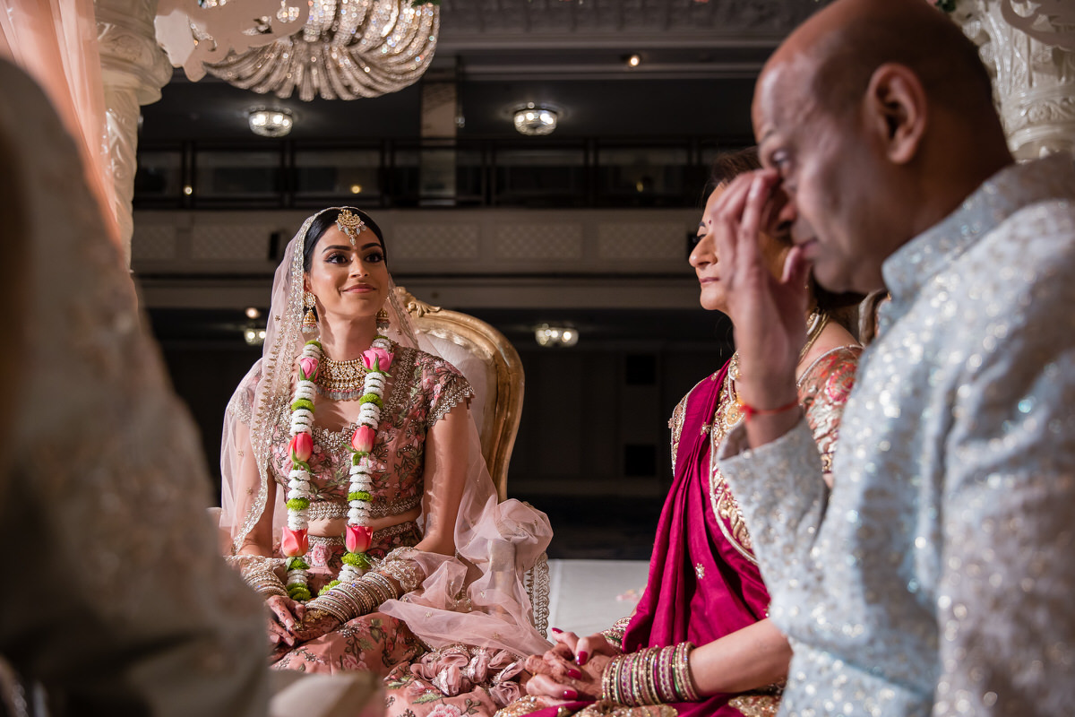 Father of the bride crying during Hindu wedding