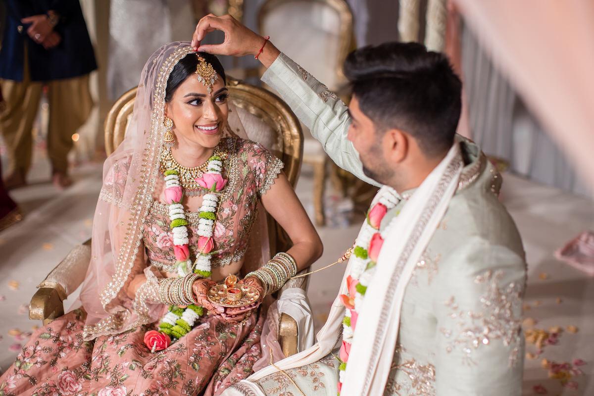 Sindoor ceremony during Hindu wedding