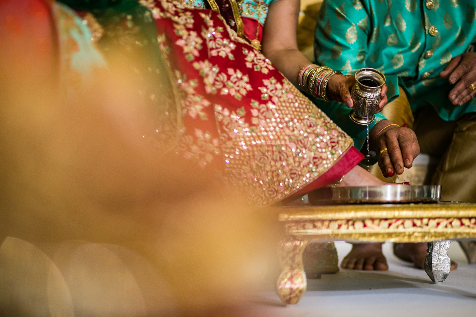 Feet washing ceremony during hindu wedding