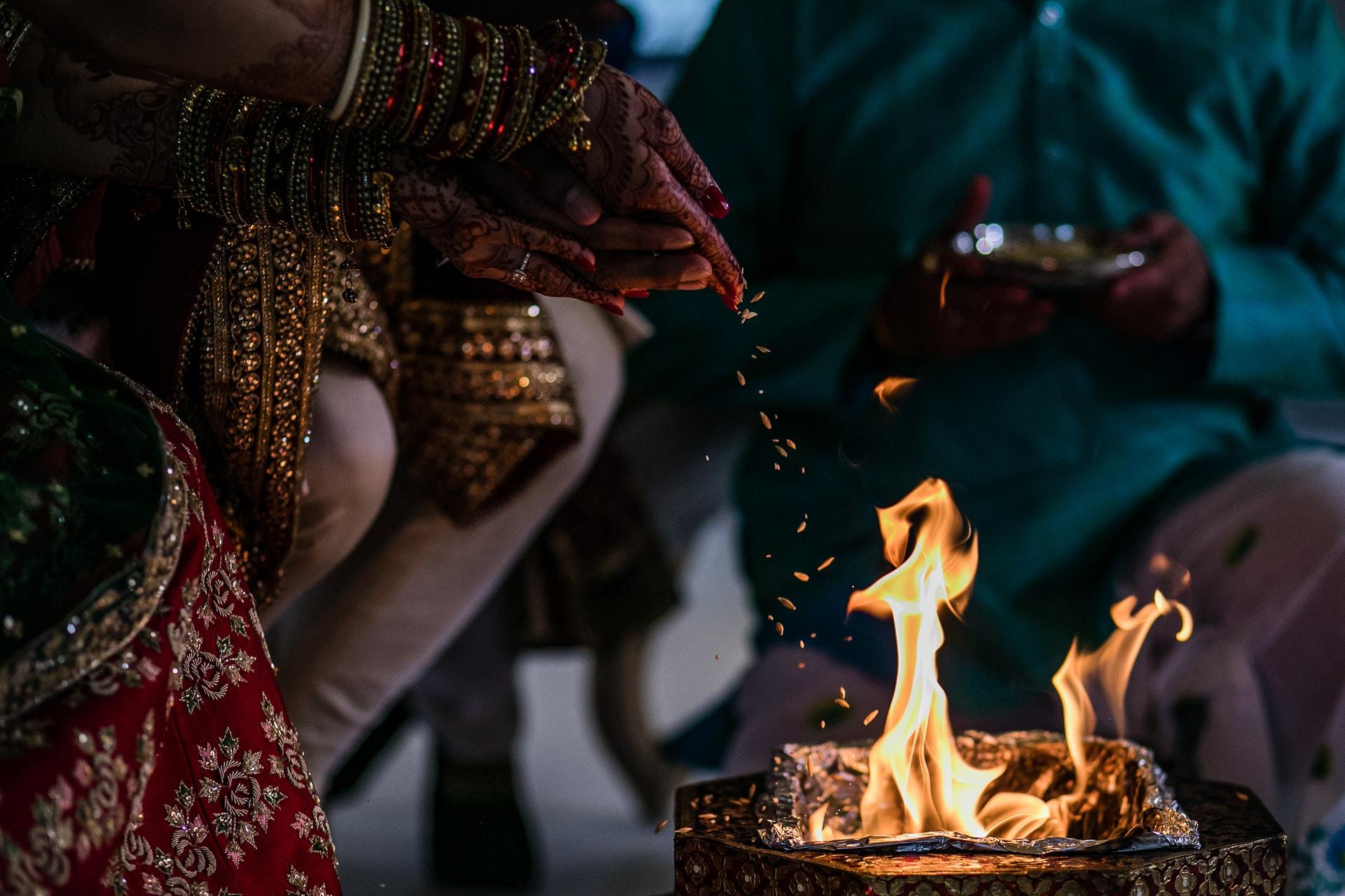 Agni ceremony during Hindu wedding
