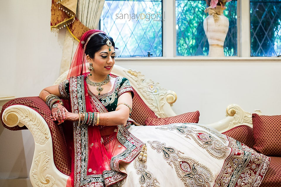 Hindu Bridal portrait at Hare Krishna Mandir in Watford