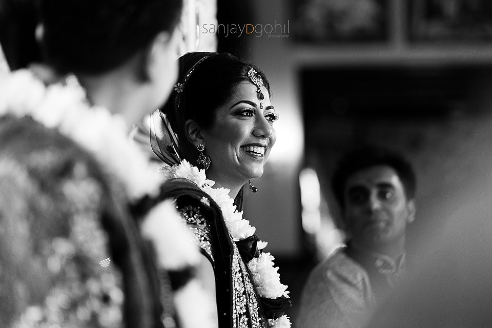 Asian wedding bride smiling