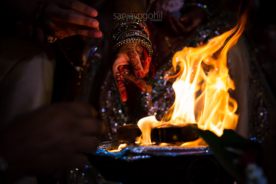 Closeup of Hindu wedding ceremony