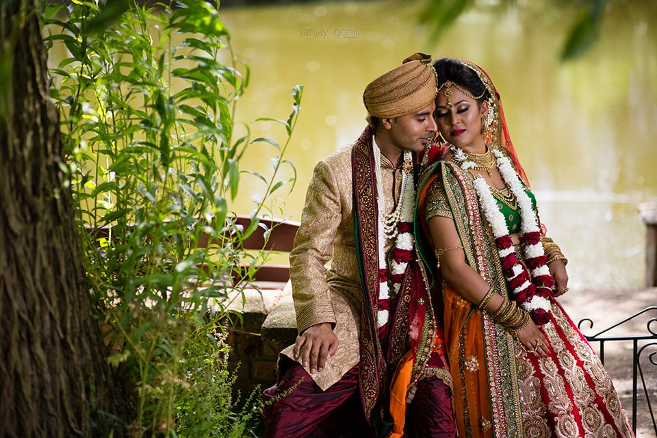 Asian Wedding portrait at Hare Krishna Mandir