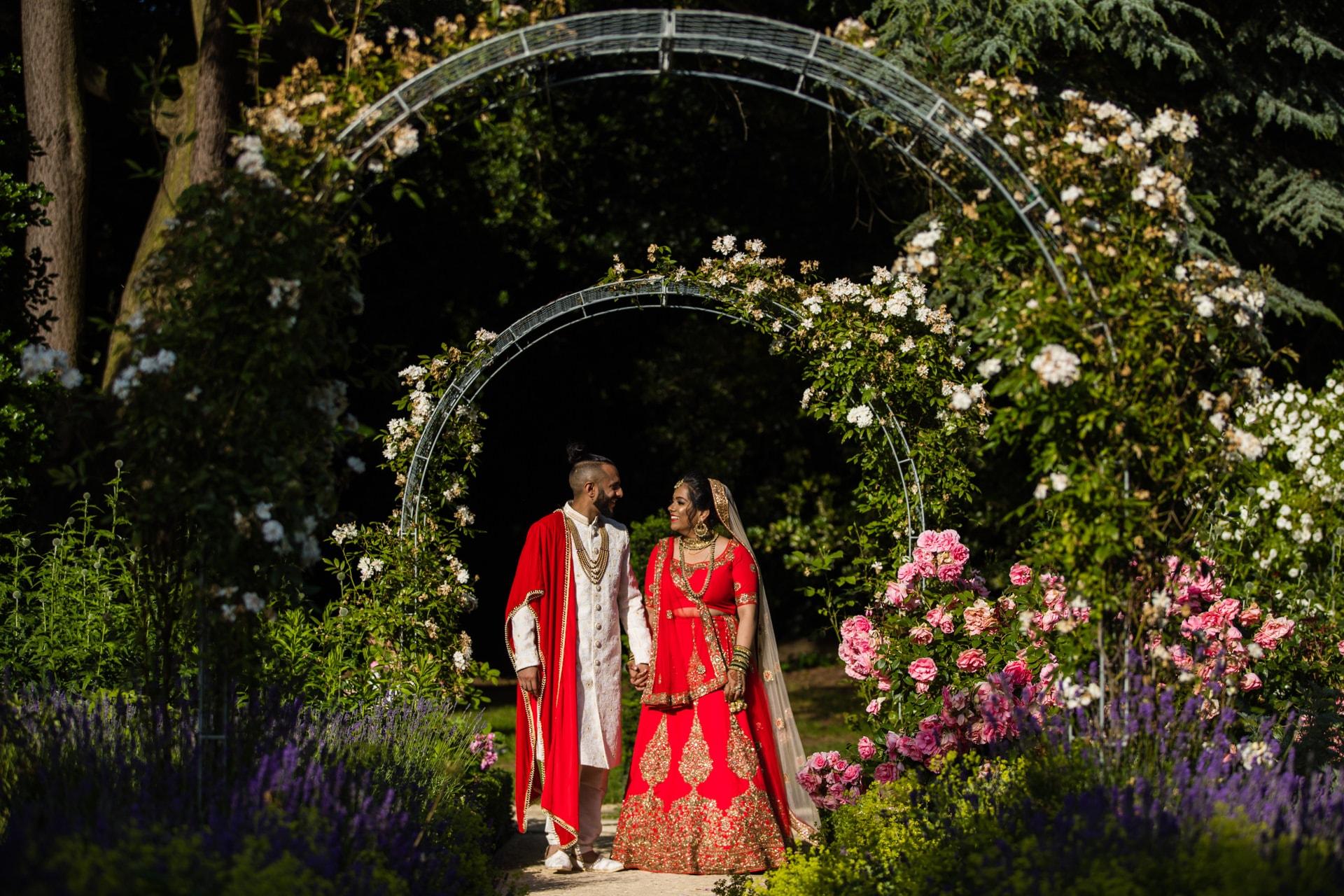 Bride and groom portrait at Hare Krishna Mandir
