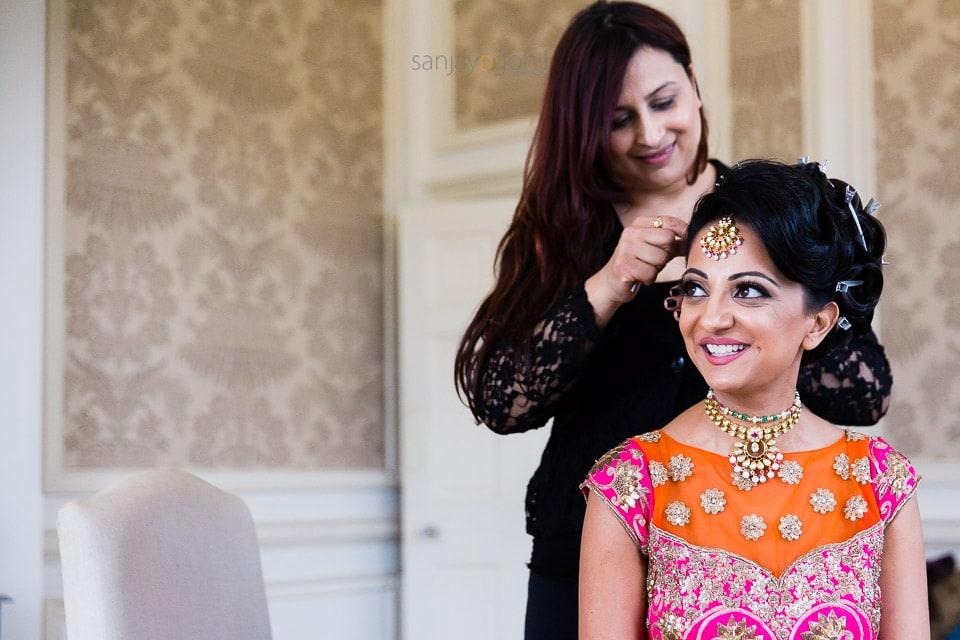 Gini Bhogal getting bride ready