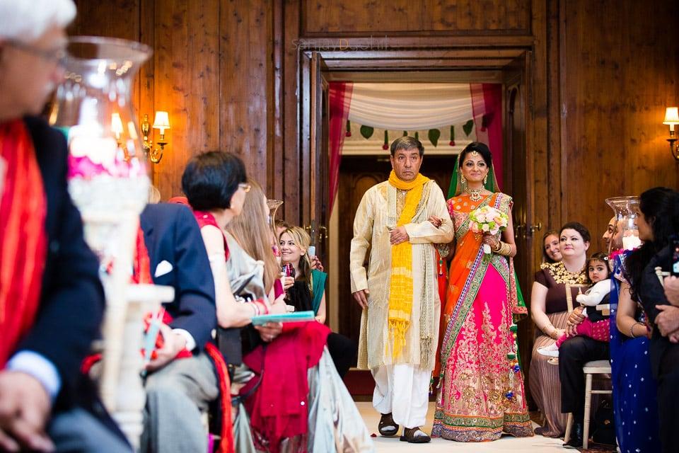 Asian wedding bride arriving