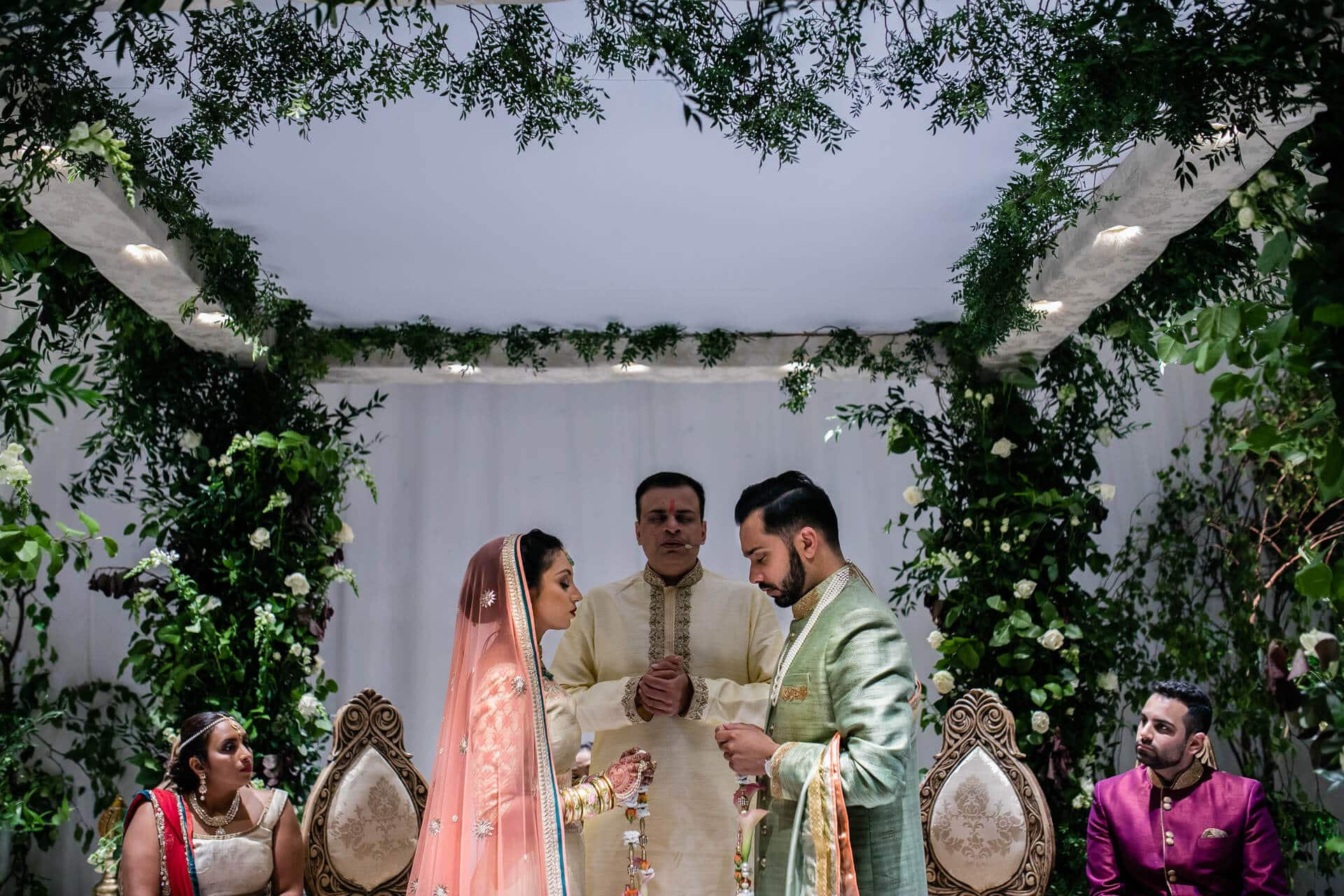 Bride and groom during garland ceremony
