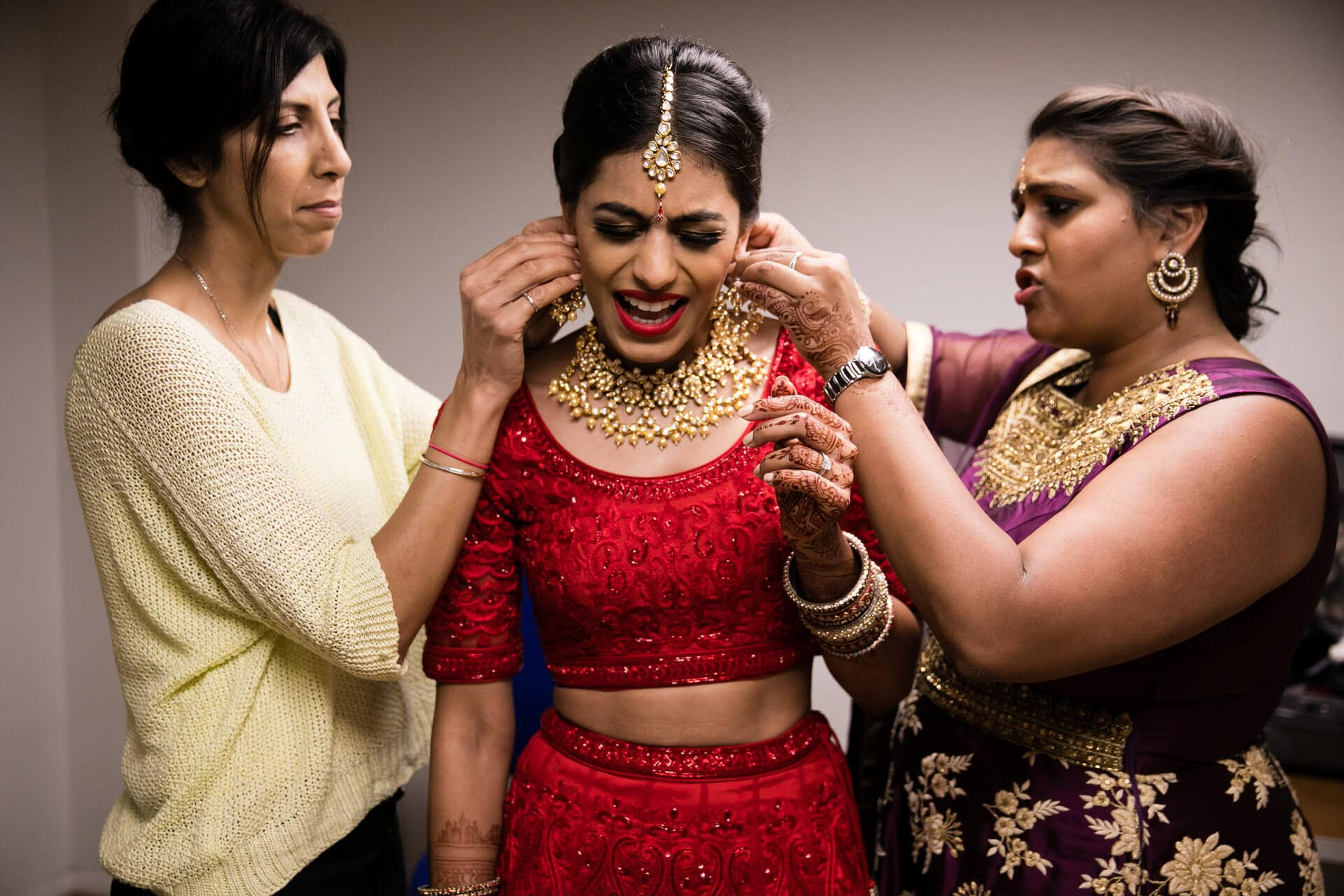 Hindu wedding bride getting ready