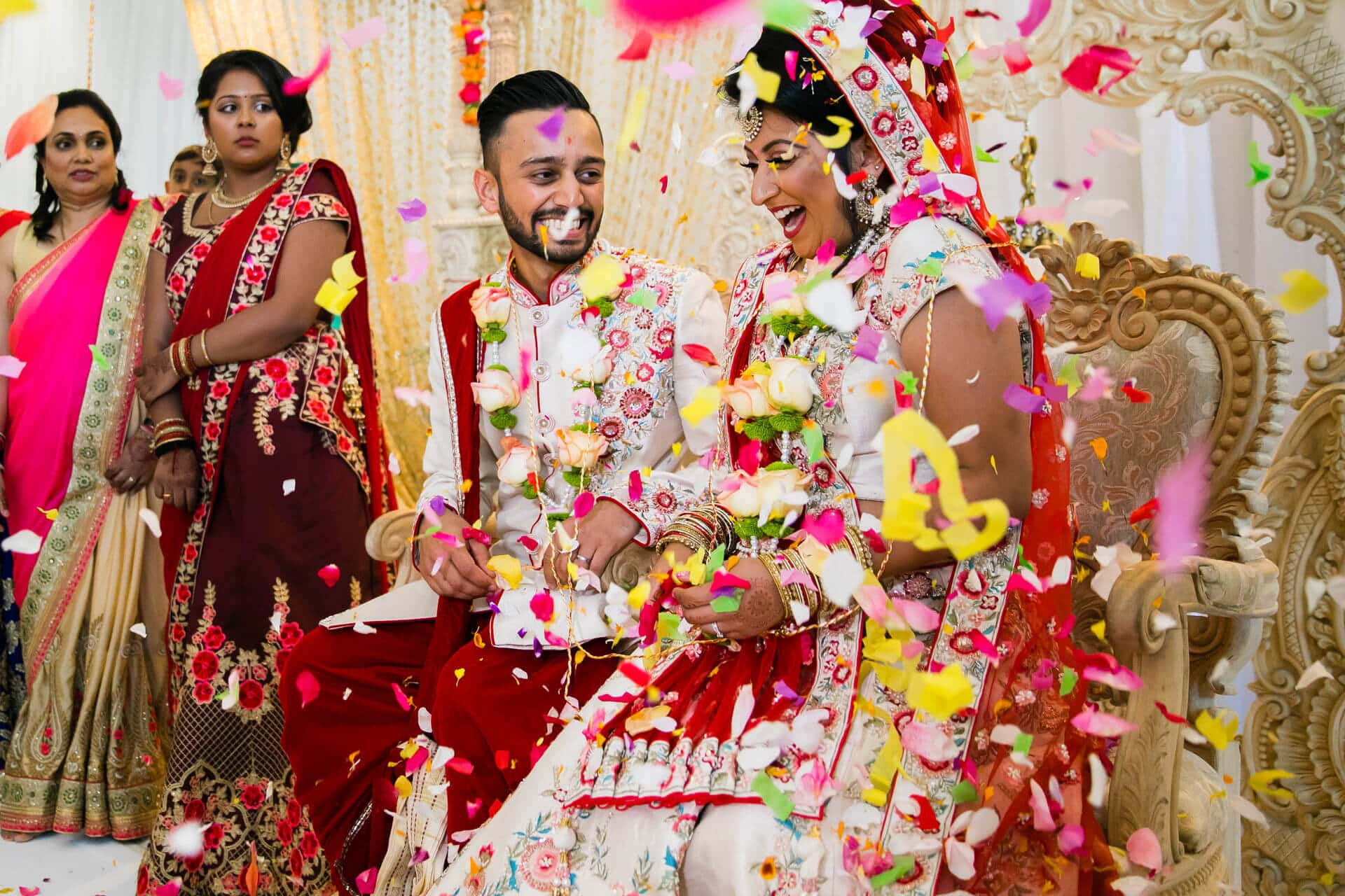 Confetti during Hindu wedding