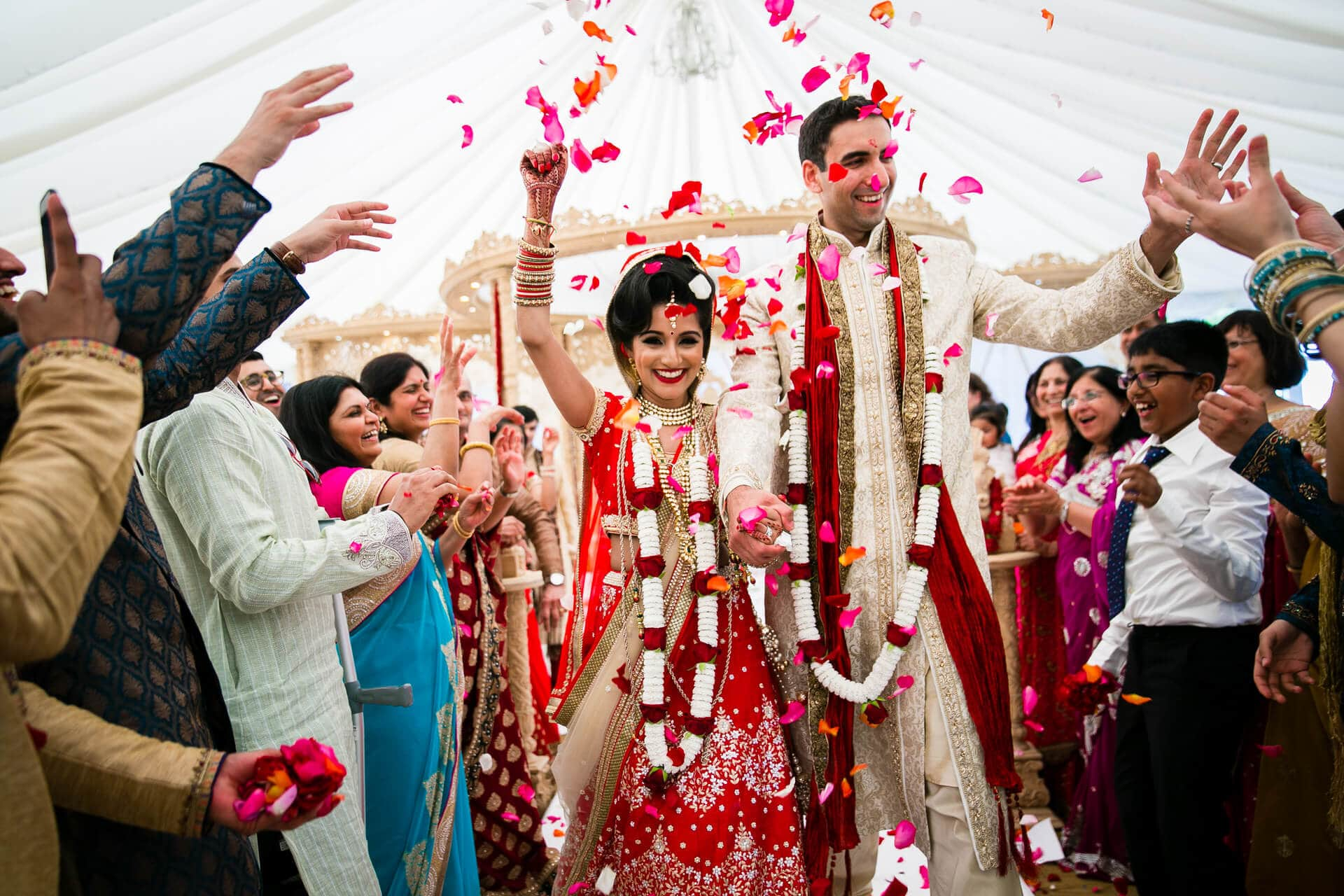 Bride and groom happy vidhai ceremony
