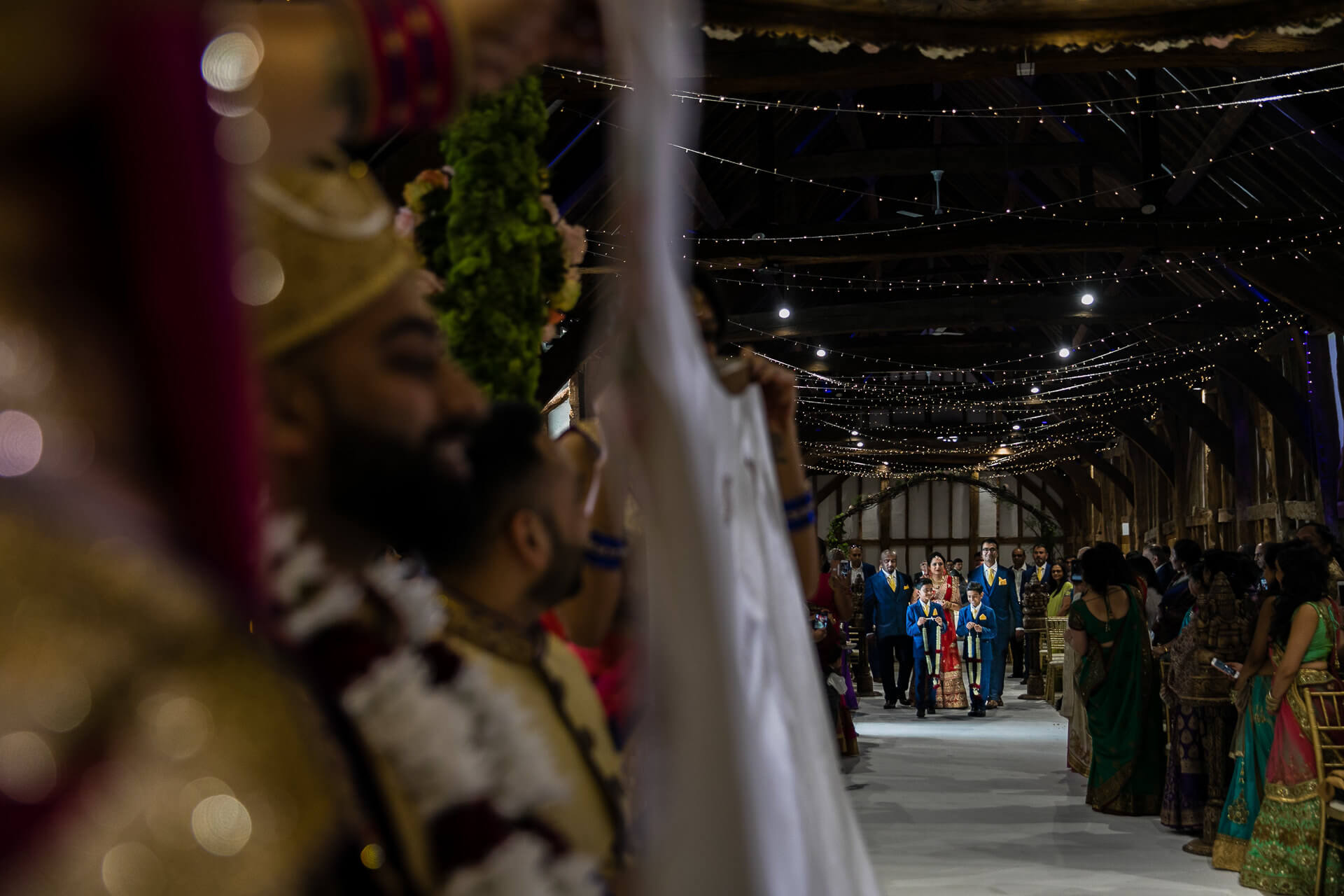 Bride walking towards mandap