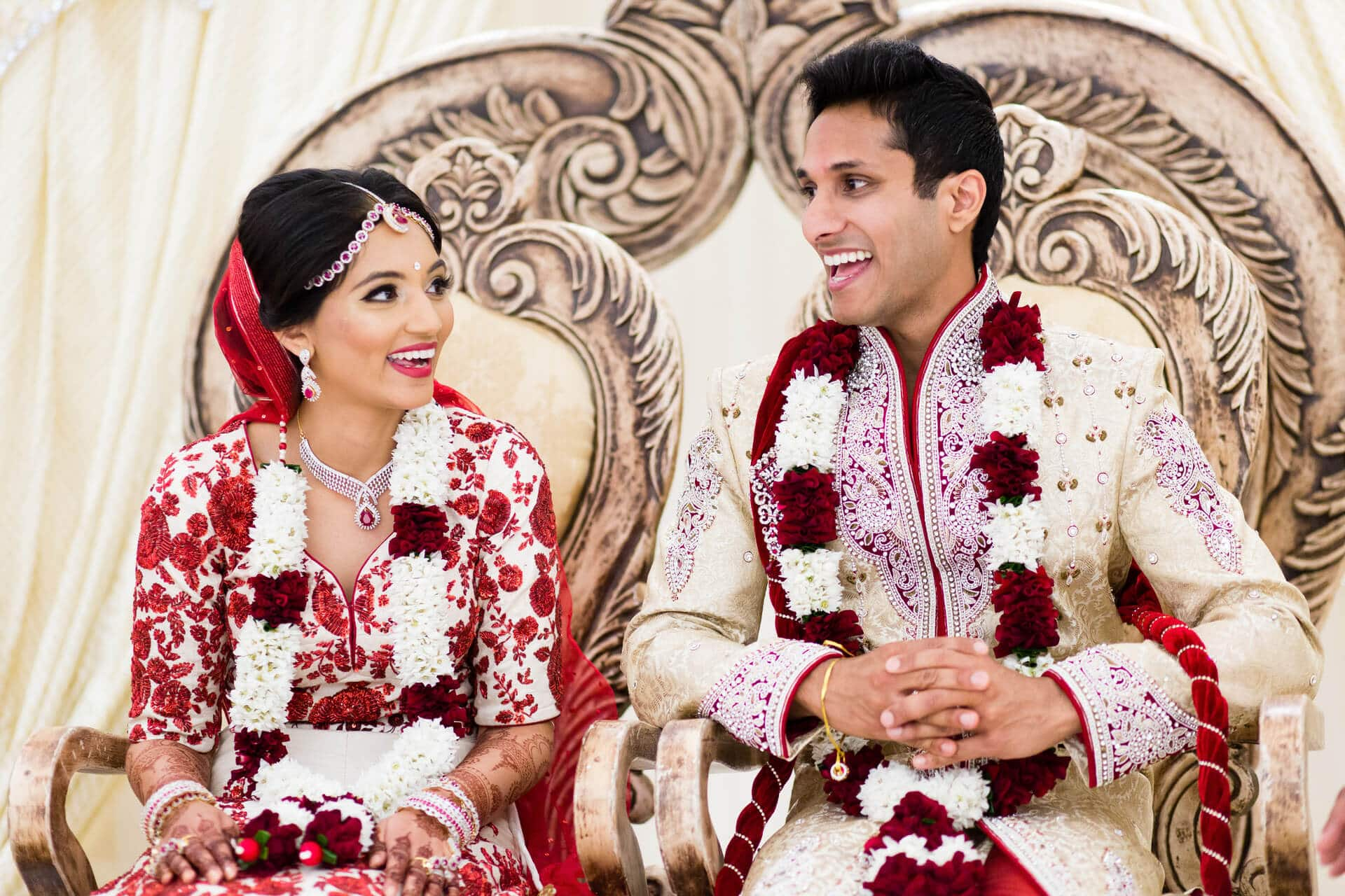 Happy Asian Indian bride and groom