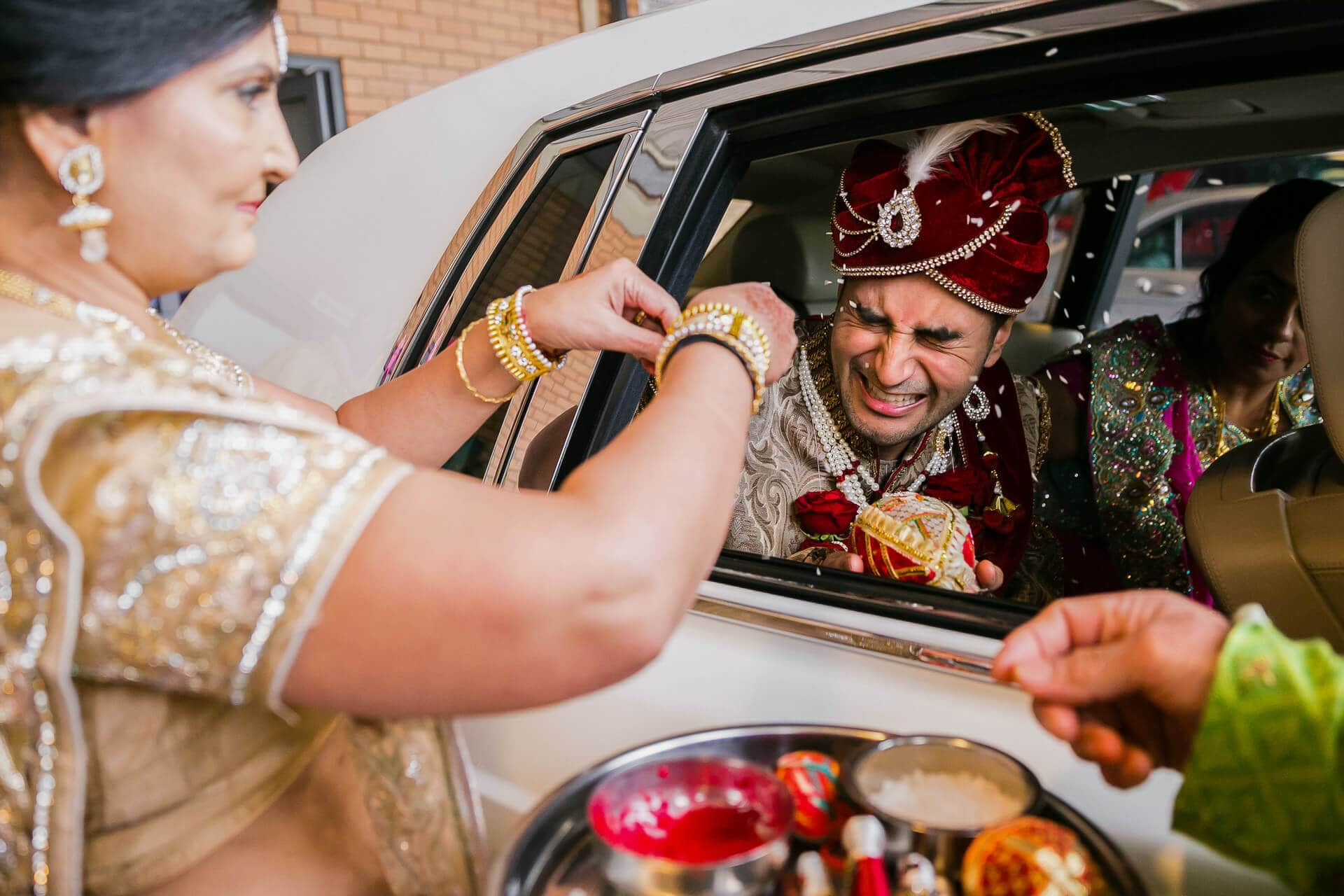 Groom welcoming ceremony during Hindu Wedding