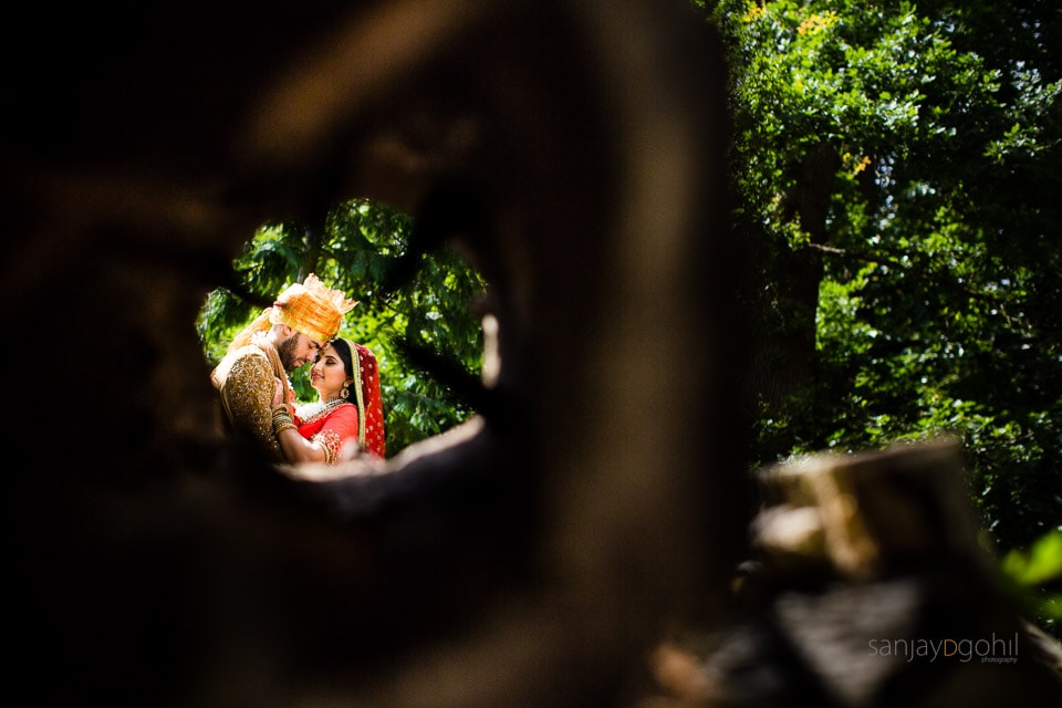 Bride and groom portrait at Savill Court, Windsor