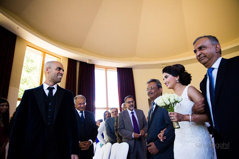 Bride arriving for civil ceremony