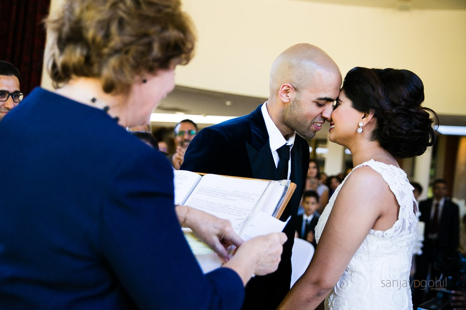 First kiss after civil ceremony