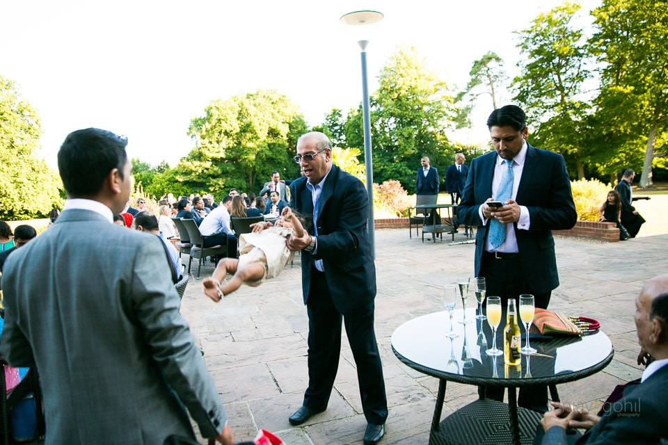 Outdoor wedding reception party at Savill Court
